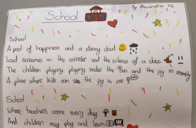 Exemplary work in literacy lesson